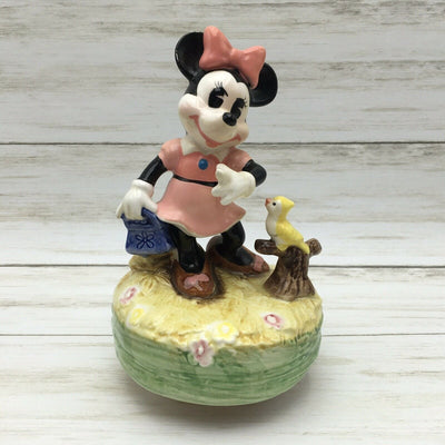 Vintage Disney Schmid Minnie Mouse Ceramic Figurine with Bird Music Box - Piglet's Closet