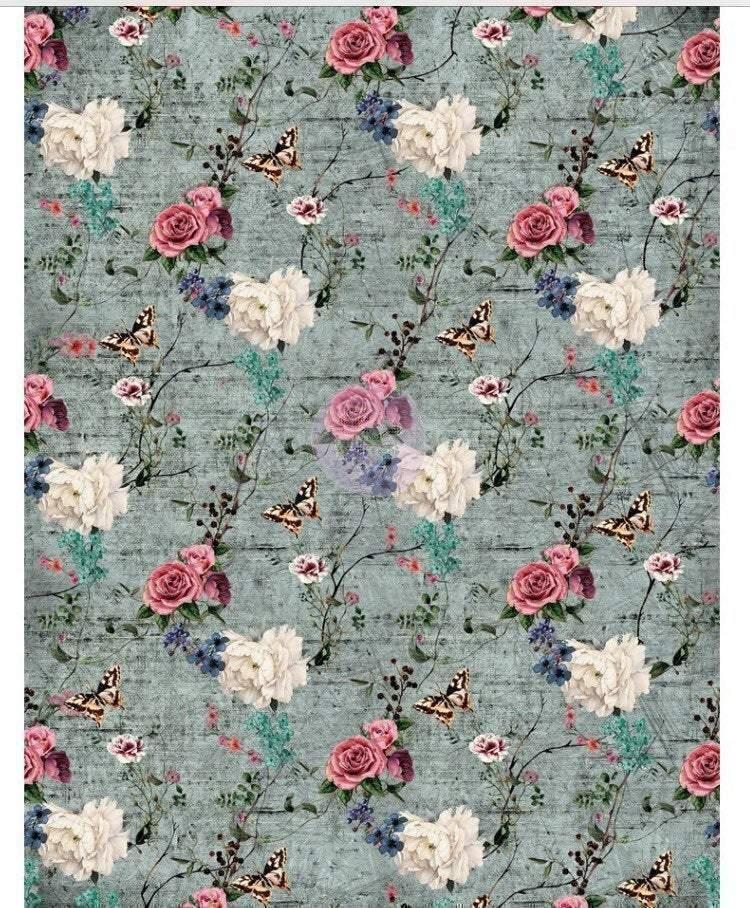 "Re-design Prima Rustic Teal Floral Furniture Decor Transfer 22""x 30"""