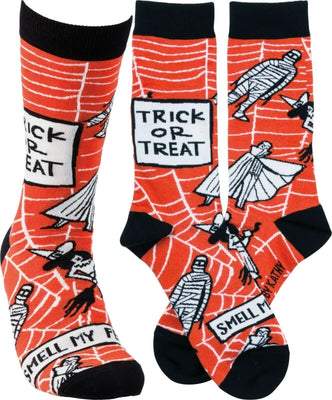 Primitives By Kathy Halloween Trick or Treat Smell My Feet Adult Unisex Sock - Piglet's Closet