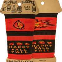 Primitives by Kathy Happy Fall Y'all Beverage Coffee Sipper Sleeves