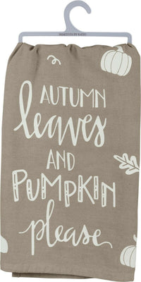 Primitives by Kathy Fall Autumn Leaves and Pumpkins Please Kitchen Dish Towel - Piglet's Closet