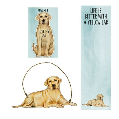 Primitives by Kathy Dog Magnet, Notebook Ornament Set - Yellow Lab - Piglet's Closet