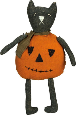 Primitives By Kathy Halloween Jack O'Cat Pumpkin Plush Sitter - Piglet's Closet