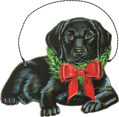 PBK Handsome Christmas Black Lab Dog Wood Ornament - Piglet's Closet