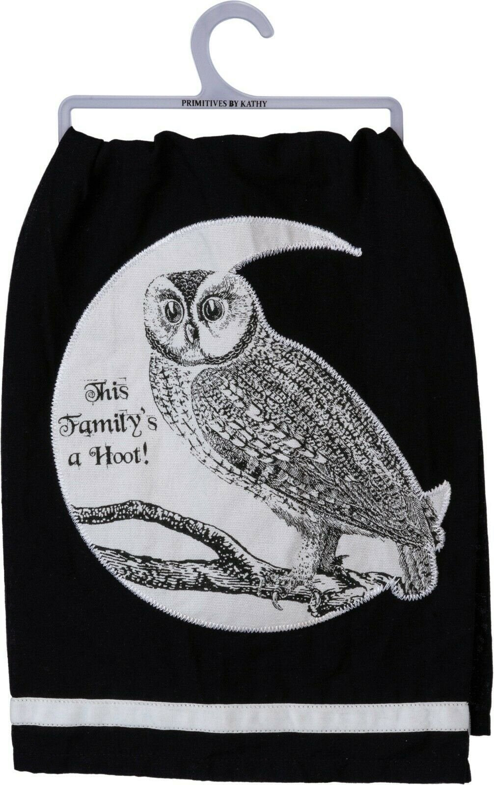 Primitives by Kathy Halloween Owl This Family is a Hoot Black Kitchen Dish Towel - Piglet's Closet