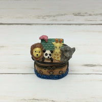 Noah's Ark Ceramic Trinket Box Elephant Giraffe Panda Lion