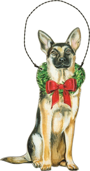 PBK Handsome Christmas German Shepherd Dog Wood Ornament - Piglet's Closet