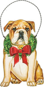 PBK Handsome Christmas Bulldog Dog Wood Ornament - Piglet's Closet