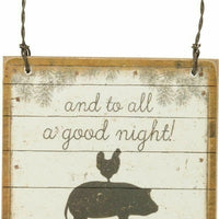 "PBK Farmhouse ""And To All A Good Night!"" Wood Christmas Ornament - Piglet's Closet"