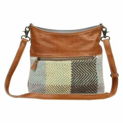 Myra Upcycled Zig Zag Canvas & Tapestry Shoulder Bag Purse - Piglet's Closet