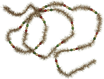 Primitives By Kathy 6' Green and Red Glass Beaded Tinsel Christmas Garland