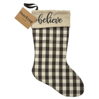 Primitives By Kathy Believe Farmhouse Checkered Christmas Stocking - Piglet's Closet