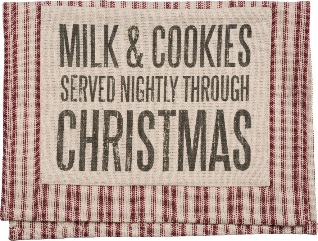 PBK Milk & Cookies Served Nightly Through Christmas Striped Dish Towel - Piglet's Closet
