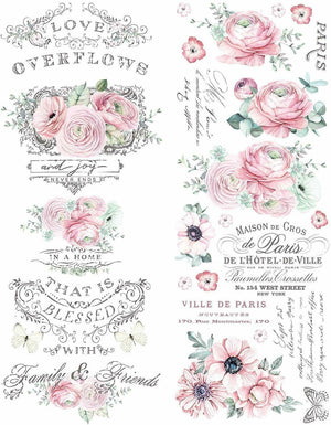 "Redesign with Prima Redesign Decor Transfer - Overflowing Love Floral 22"" x 30"""