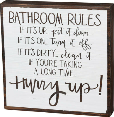 PBK Bathroom Rules Hurry Up Novelty Wood Bathroom SIgn - Piglet's Closet
