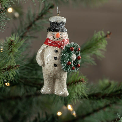 Ragon House Snowman with Wreath Glitter Christmas Ornament - Piglet's Closet