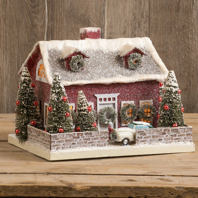 Ragon House Christmas Red Cape Cod Lighted Village House - Piglet's Closet