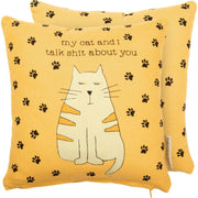 "PBK My Cat and I Talk About You Novelty Yellow 10"" Accent Pillow"