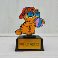 Vintage Aviva Garfield The Cat I Live For Weekends Trophy Award #2 - Piglet's Closet