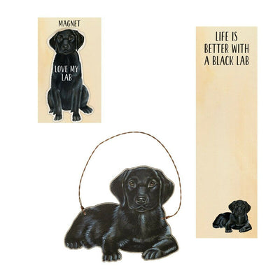 Primitives by Kathy Dog Magnet, Notebook, Ornament Set - Black Lab - Piglet's Closet