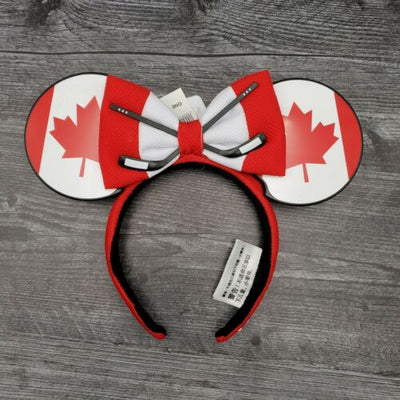Disney Parks Epcot World Showcase Canada Maple Leaf Hockey Puck Ears - Piglet's Closet