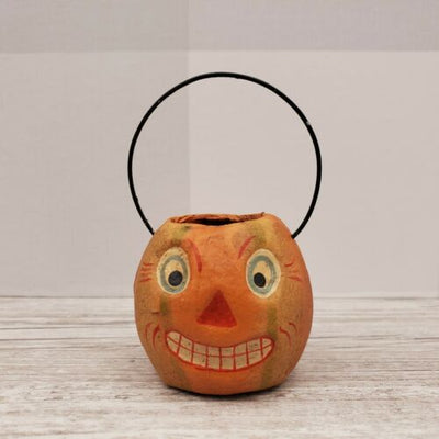 Bethany Lowe Designs Mini Halloween Bucket Ornament Green Stripe Pumpkin - Piglet's Closet