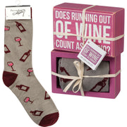 PBK Does Running Out of Wine Count As Cardio? Wood Sign and Socks Gift Set - Piglet's Closet