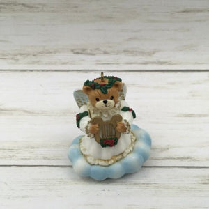 Vintage Enesco Lucy & Me Plastic Teddy Bear Angel with Harp Ornament - Piglet's Closet