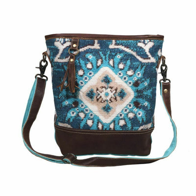 Myra Upcycled Canvas & Tapestry Blue Spirited Floral Upcycled Shoulder Bag Purse - Piglet's Closet