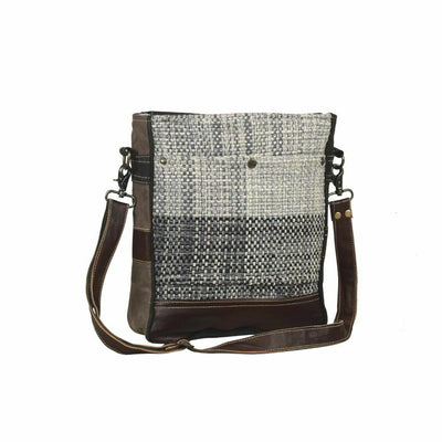Myra Upcycled Pro Forma Grey Canvas & Tapestry Shoulder Bag Purse - Piglet's Closet