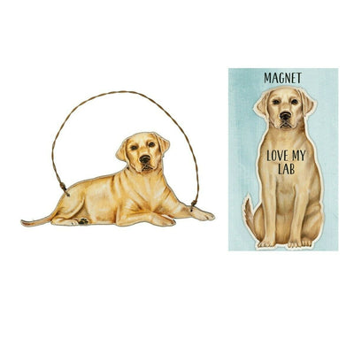 Primitives by Kathy Dog Magnet and Ornament Set - Yellow Lab - Piglet's Closet