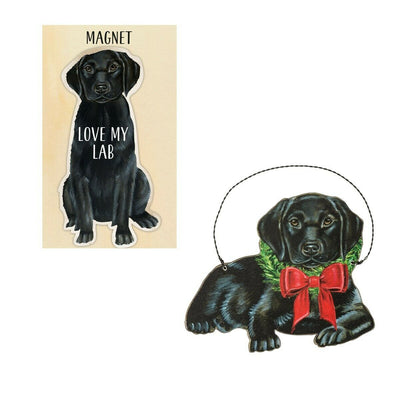 Primitives by Kathy Dog Magnet and Ornament Set - Black Lab - Piglet's Closet