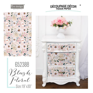 Blush Floral Re-design with Prima Mulberry Tissue Decoupage Paper - Piglet's Closet