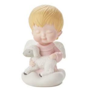"Hallmark Mary's Angels Safe & Snug Lamb"" Pink Angel Figurine - Piglet's Closet"