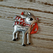 Hallmark Rudolph The Red Nosed Reindeer Happy from Head to Nose Metal Ornament - Piglet's Closet