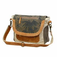 Myra Upcycled Classic Flap Over Canvas and Leather Messenger Bag Purse - Piglet's Closet