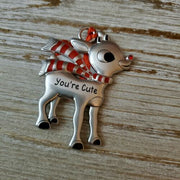 Hallmark Rudolph The Red Nosed Reindeer You're Cute Metal Ornament - Piglet's Closet