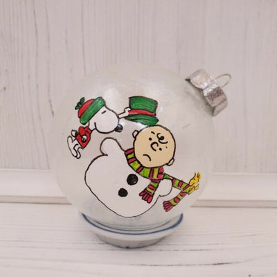 Peanuts Gang Handpainted Snoopy Glass Frosted Ball Christmas Ornament