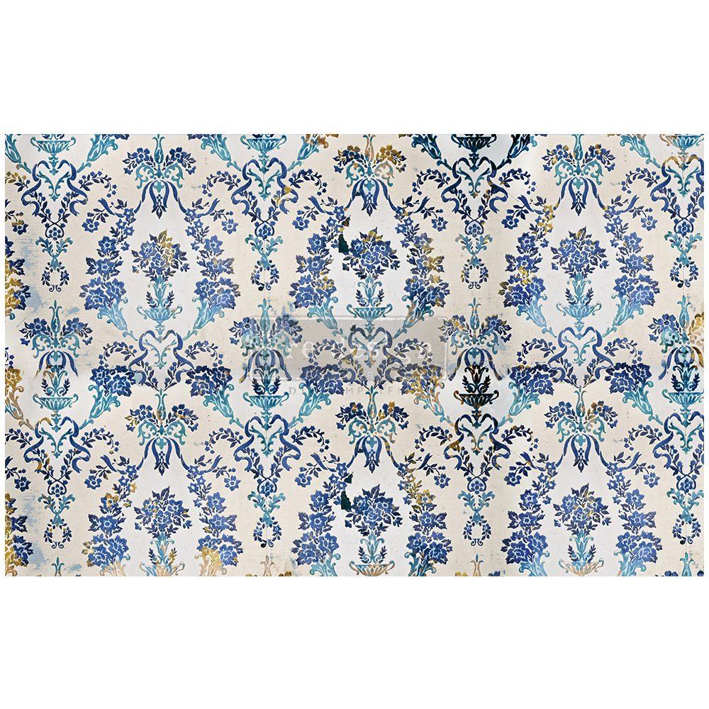 Cobalt Flourish Re-design with Prima Mulberry Tissue Decoupage Paper - Piglet's Closet