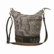 Myra Upcycled Canvas & Tapestry Grey Floral Upcycled Shoulder Bag Purse - Piglet's Closet