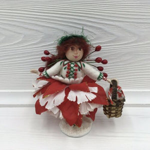 Handmade Christmas Natalie Wood and Pipe Cleaner Festive Doll Figurine Signed - Piglet's Closet