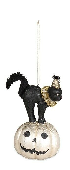 Bethany Lowe Designs Hallow's Eve Black Cat on Pumpkin Ornament - Piglet's Closet