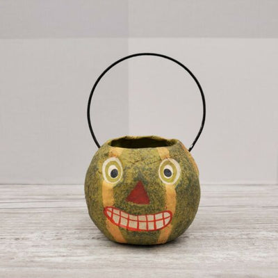 Bethany Lowe Designs Mini Halloween Bucket Ornament Melon Pumpkin - Piglet's Closet