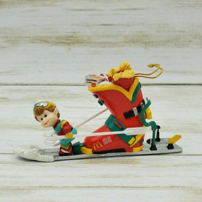 1996 Enesco McDonalds Downhill Delivery Christmas Ornament - Piglet's Closet
