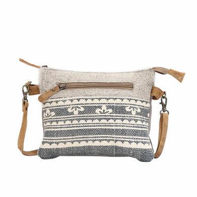 Myra Upcycled Grey Primitive Hairon Canvas Leather Cross Body Bag - Piglet's Closet