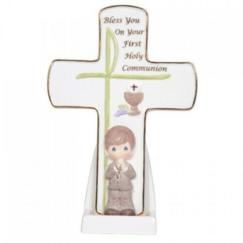 2010 Precious Moments Communion Boy Cross With Stand Figurine #104410 - Piglet's Closet