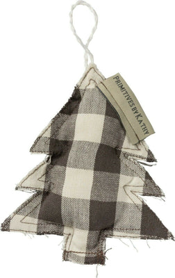 PBK Farmhouse Christmas Buffalo Check Fabric Tree Ornament - Piglet's Closet