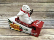 Danbury Mint 2000 Coca Cola Mechanical Bank Polar Bear Sled Cast Iron COA - Piglet's Closet