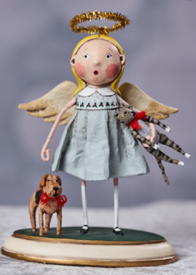 Lori Mitchell Animal Keeper Girl with Cat and Dog Figurine - Piglet's Closet