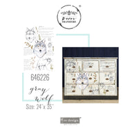 "Gray Wolf -Redesign with Prima Furniture Decor Transfer 24"" x 35"" - Piglet's Closet"